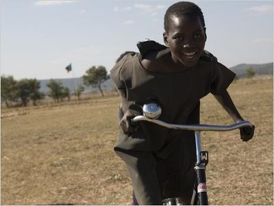 A recent recipient of a new bike, courtesy of World Bicycle Relief.