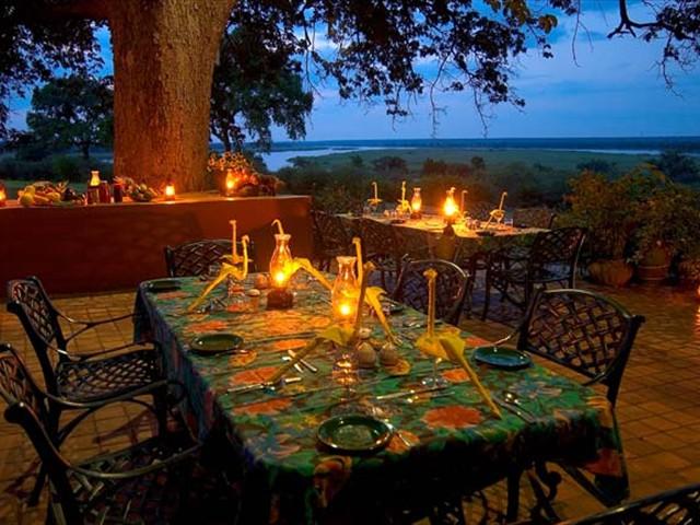 Enjoy al fresco dining at Imbabala Lodge