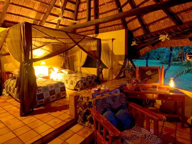 A chalet at Imbabala Safari Lodge upstream from the mighty Victoria Falls, Zimbabwe