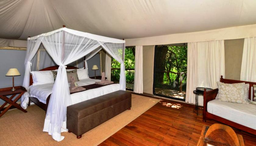 Inside a luxury tented room