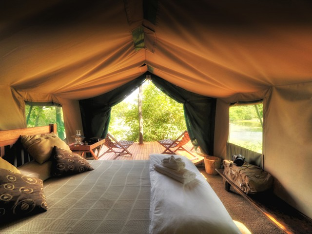 Inside a tented room at Kanga Camp