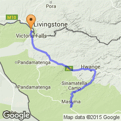 Map showing directions from Kapula Camp in Hwange National Park, to Victoria Falls - Zimbabwe