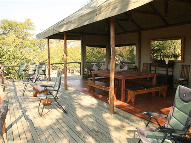 The deck at Kapula South Camp - an affordable Hwange National Park option