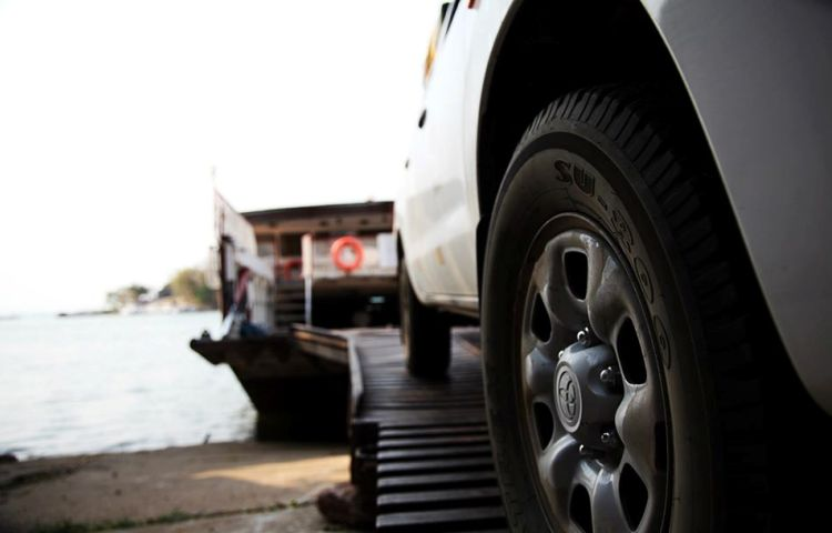 Vehicles getting onto the Kariba Ferry