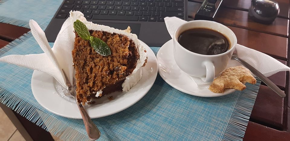 Cake and coffe at the delightful Kubu Cafe in Livingstone town, Zambia