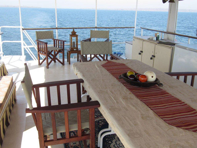 Dining table on the upper deck