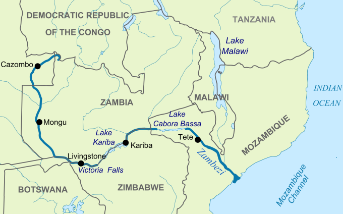 zambezi river south africa map