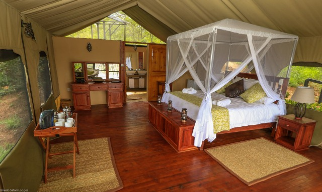 Inside a Little Gorges tented room