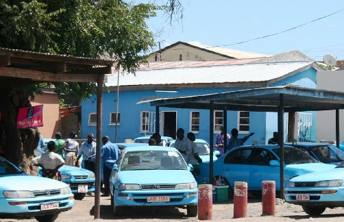 The blue taxis of Zambia parked in Livingstone town