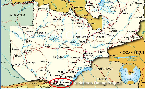 The location of the town of Livingstone on the Zambian map