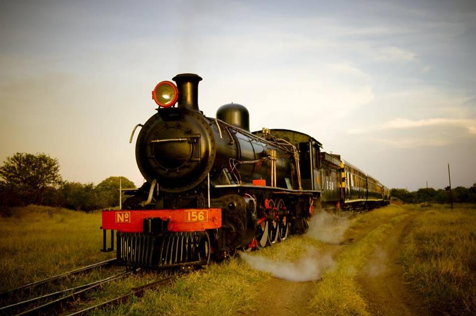 The Royal Livingstone Express steam train in Zambia near Victoria Falls