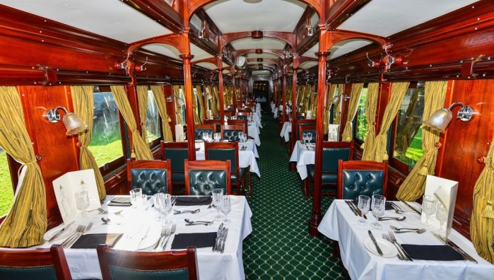 Aboard the luxurious Royal Livingstone Express in Zambia