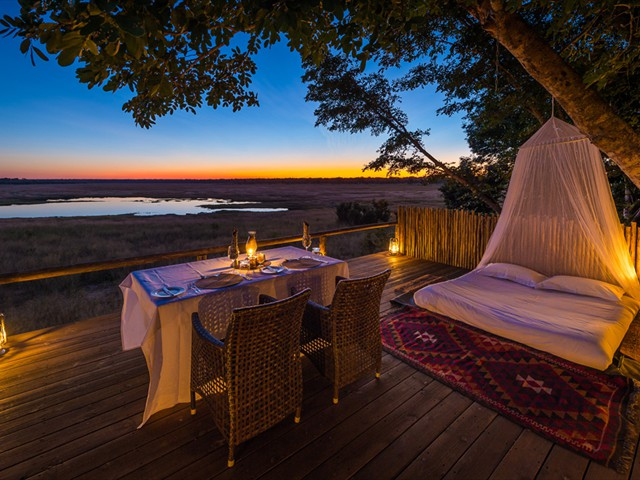 Little Makalolo Camp star bed in Hwange National Park, Zimbabwe