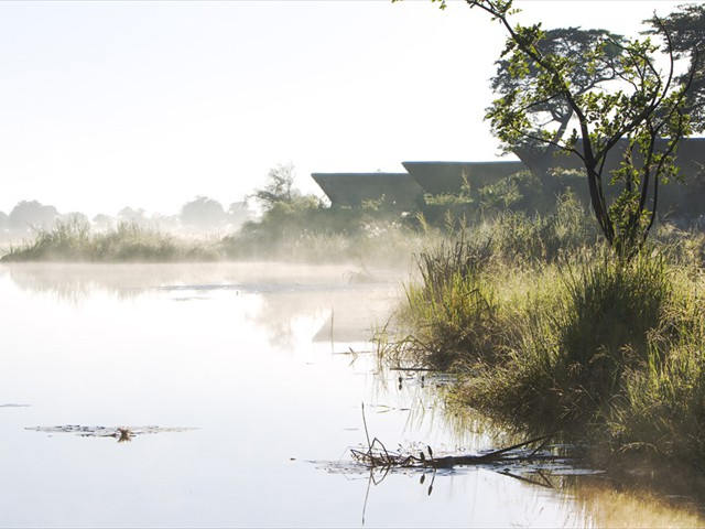 A safari lodge on the Kwando River