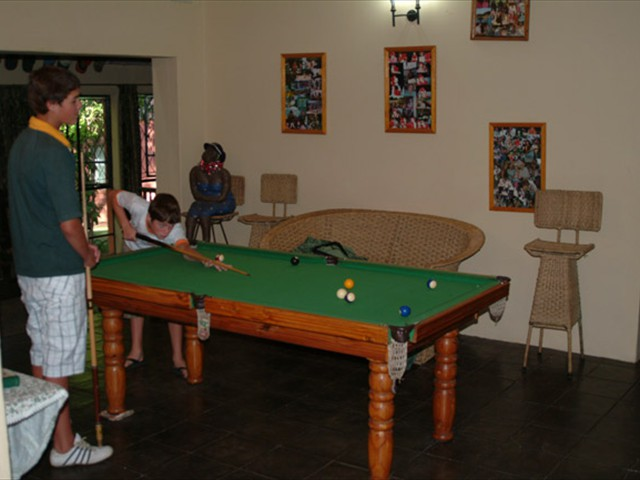 The pool table inside the main building