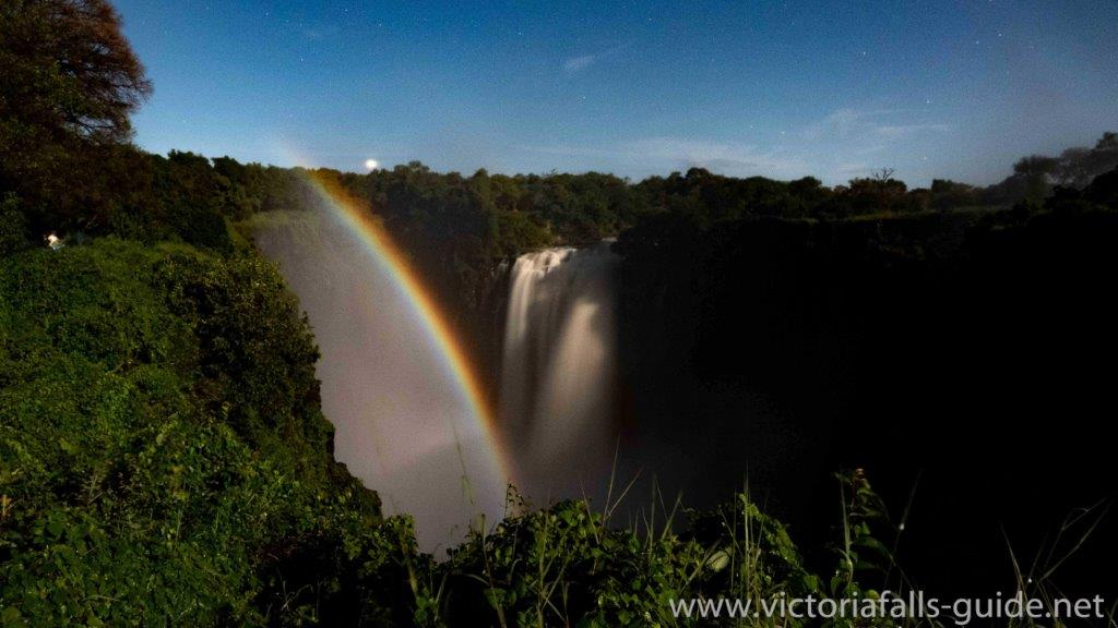 A lunar rainbow / moonbow at the nighty Victoria Falls