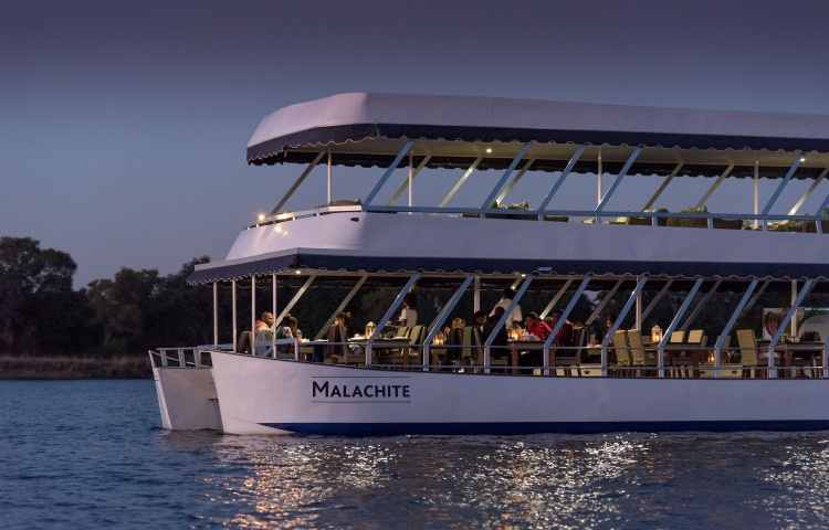The Malachite boat on the Zambezi River. Dinner cruises from Victoria Falls, Zimbabwe