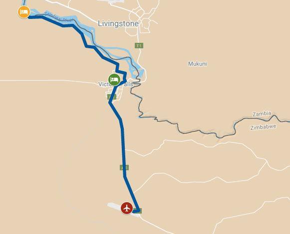 Route map for Zimbabwe safari from Zambezi National Park to Victoria Falls, Zimbabwe