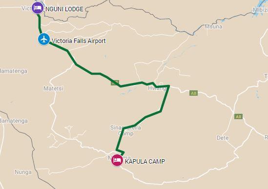 Safari itinerary map through Hwange National Park and Victoria Falls