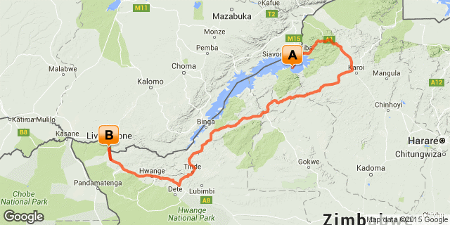 Route map for a 7 night Zimbabwe safari to Kariba and Victoria Falls