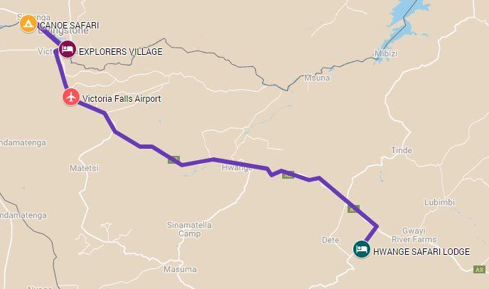 Route map for a 7 night Hwange, Zambezi national park and Victoria Falls safari