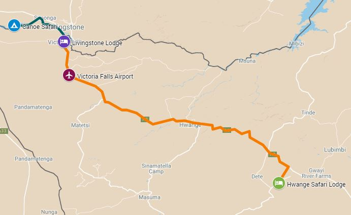 Route map for a 7 night Hwange, Zambezi national park and Victoria Falls safari