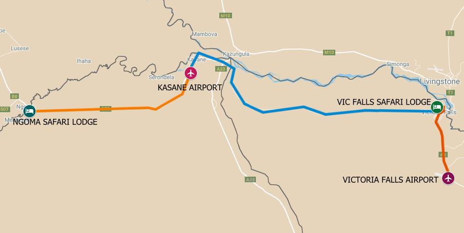 The route map for a Zimbabwe Botswana Safari from Ngoma and Chobe to Victoria Falls Zimbabwe