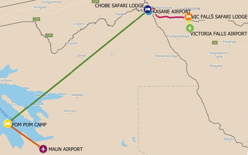 The route map for a Zimbabwe Botswana Safari from Chobe to Okavango and then Victoria Falls Zimbabwe