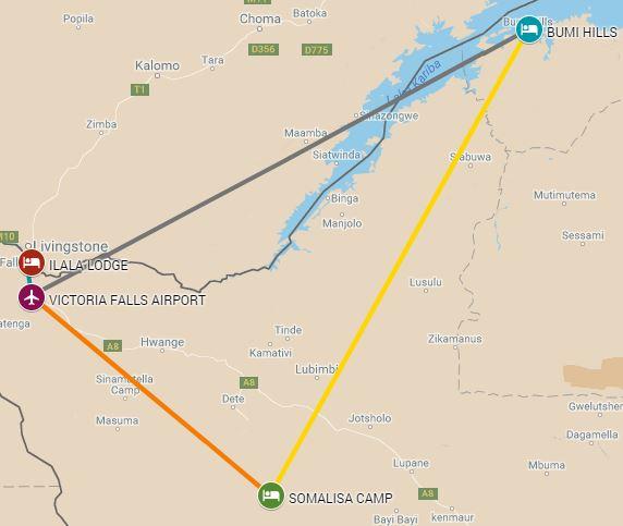 The Golden Triange Safari including flights - Victoria Falls, Hwange National Park and Lake Kariba