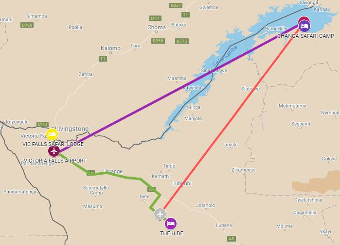 Itinerary route starting from Hwange and ending in Victoria Falls