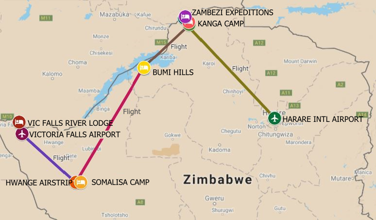 An well rounded safari itinerary from in Victoria Falls to Hwange, Kariba and Mana Pools in Zimbabwe
