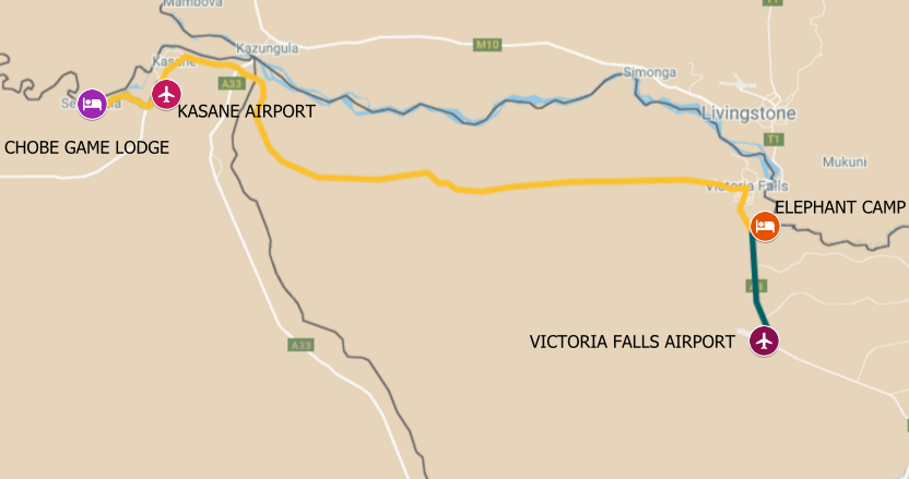 Map of safari itinerary from the Chobe River luxury houseboat to Victoria Falls - Zimbabwe