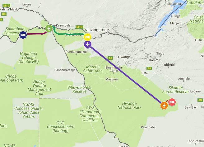 Map of safari itinerary from Chobe to Victoria Falls and Hwange National Park