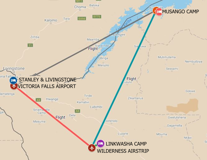 Itinerary route starting from Victoria Falls to Hwange and Lake Kariba