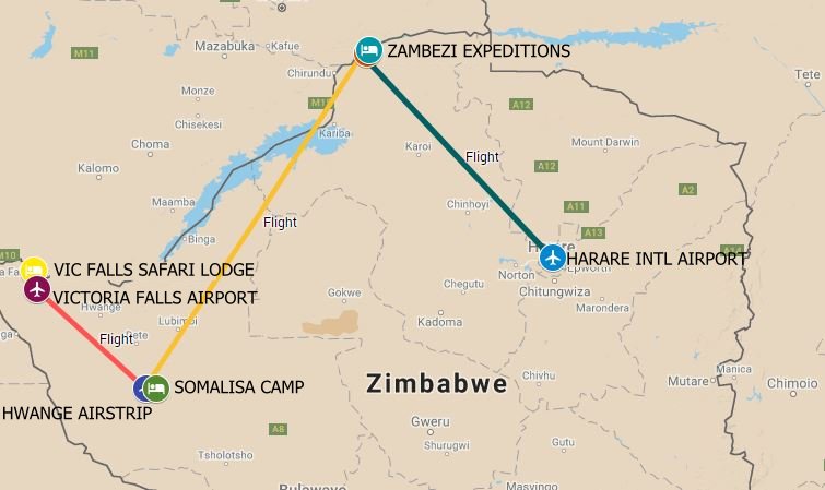 Three of Zimbabwe's best loved destinations Victoria Falls, Hwange National Park and Mana Pools in one exciting safari.