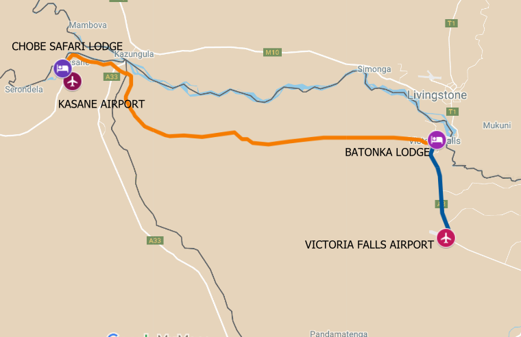 The route map for a Zimbabwe Botswana Safari from Chobe National Park to Victoria Falls