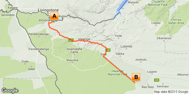 Itinerary route starting from in Victoria Falls in Zimbabwe and ending in Hwange