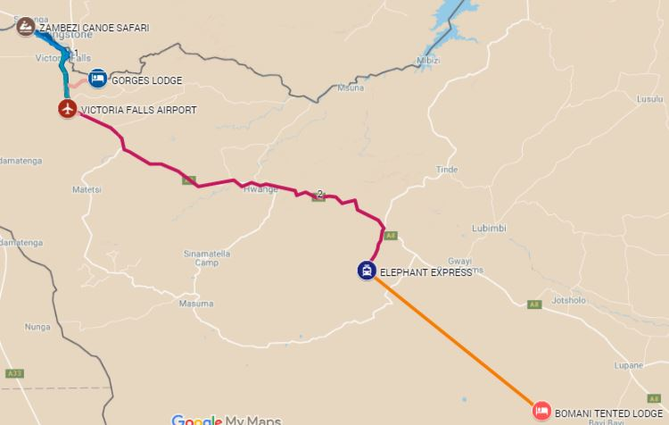 Itinerary route starting from Zambezi National Park, then Victoria Falls and Hwange