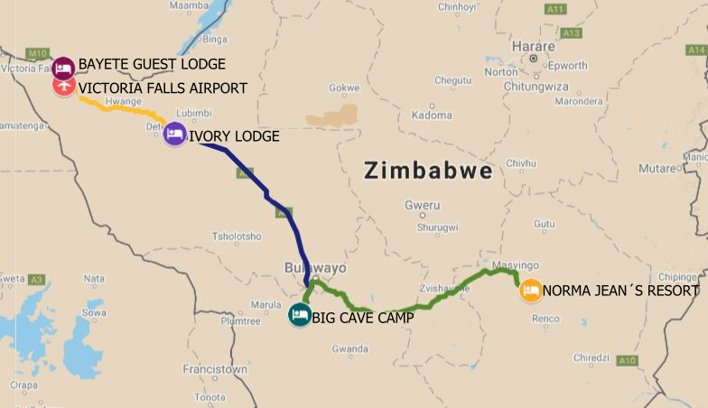 Itinerary route for luxury safari starting in Victoria Falls, and on to Hwange National Park, Matobo Hills National Park, and ending in Masvingo visiting the Great Zimbabwe Ruins