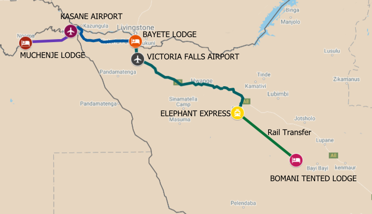Map of safari itinerary from the Chobe River front to Victoria Falls and Hwange National Park