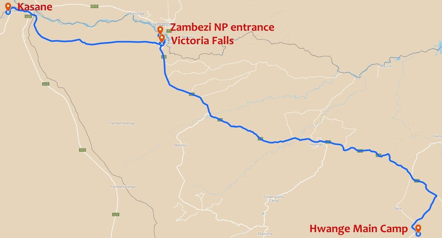 Route from Victoria Falls to Chobe, Zambezi and Hwange National parks in Botswana and Zimbabwe