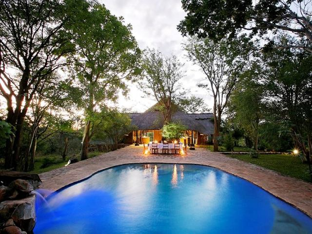 The pool at Masuwe Lodge in Victoria Falls, Zimbabwe