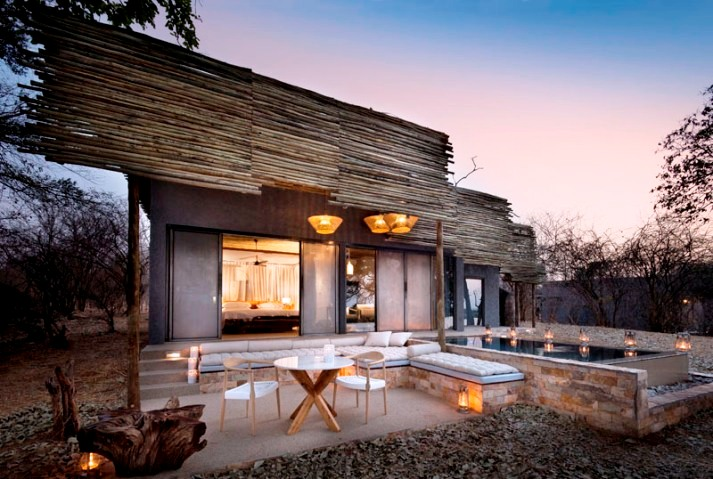 Outside view of a Matetsi River lodge guest suite - luxury Victoria Falls accommodation