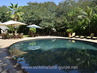 The pool at Bayete Guest Lodge. Victoria Falls, Hwange, Chobe safari.
