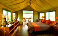 Inside one of the luxurious tents at Bomani Tented Lodge in Hwange National Park, Zimbabwe