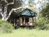 The exterior of one of the tents at Bomani Lodge in Hwange National Park, Zimbabwe