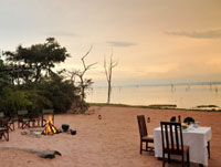 Beach dinner by Lake Kariba with Changa Safari Camp
