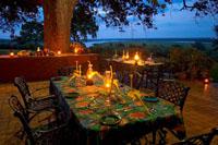Dinig at Imbabala Safari Lodge near Victori Falls, Zimbabwe