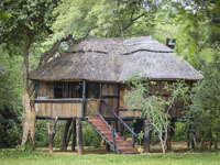 A tree house at Ivory Lodge in Hwange National Park, Zimbabwe