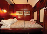 Gold cabin accommodation inside the Shongololo Express